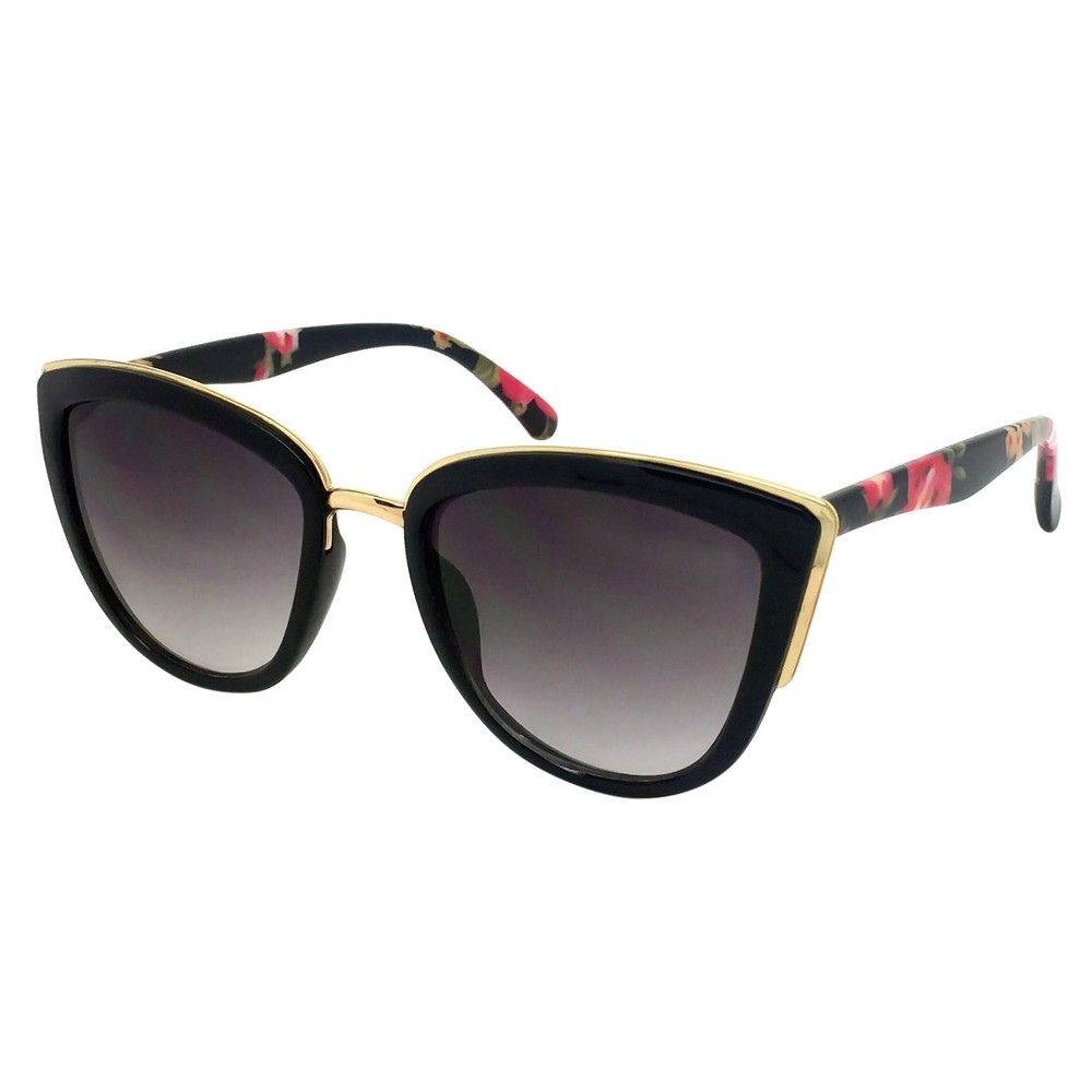 Womens Cateye Sunglasses-Black Floral, Black