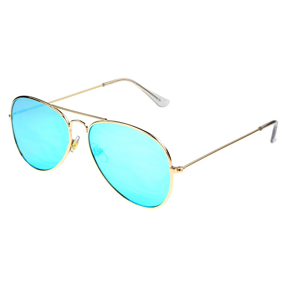Fashion Aviator Sunglasses with Blue Mirror Flat Lenses - Gold, Womens, Light Gold