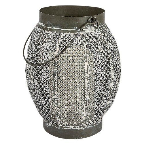 Antique White Round Punched Lantern Medium - Threshold, Natural