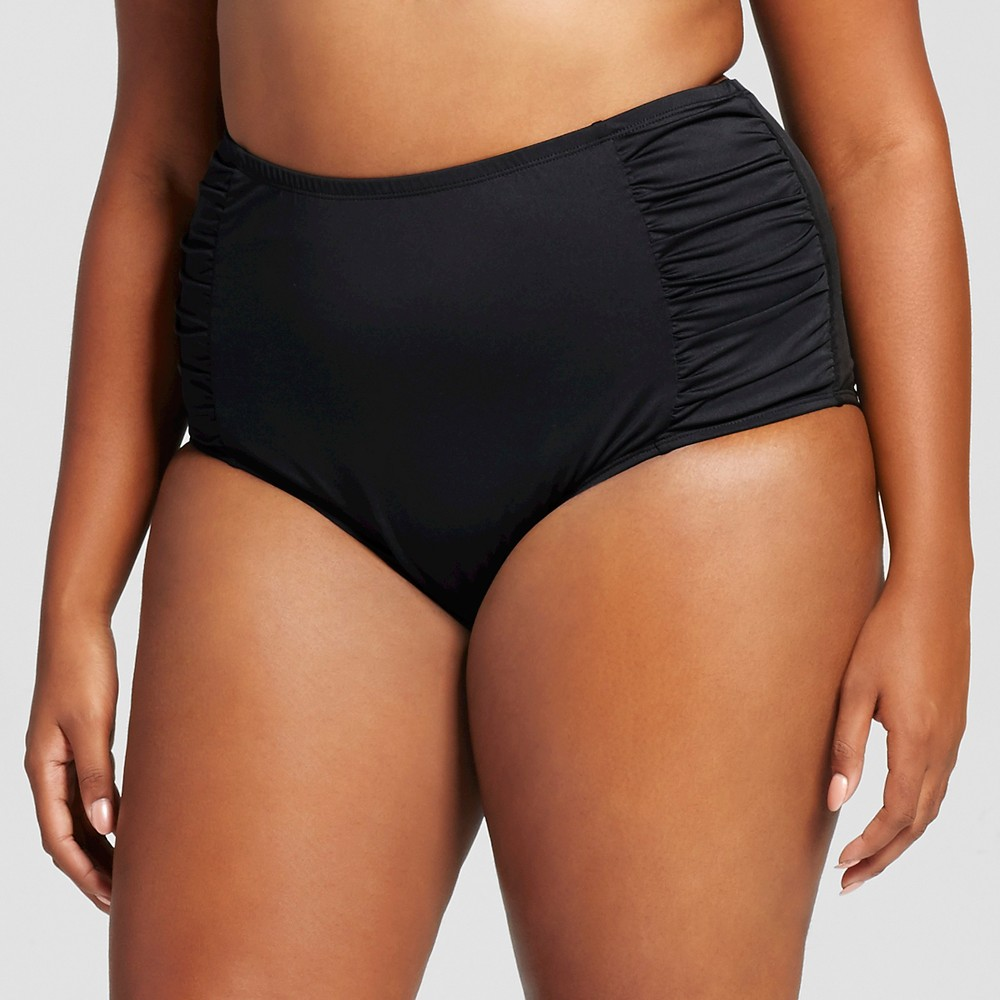 Womens Plus Size Shirred High Waist Bikini Bottom Black 22W - Clean Water