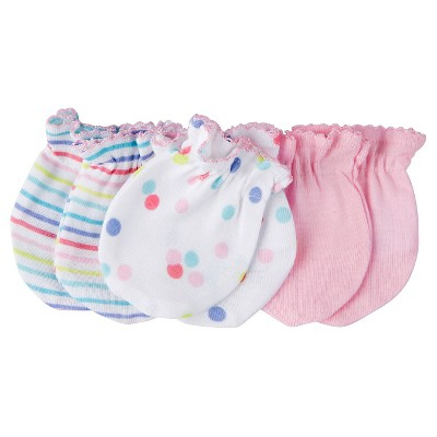 Gerber® Baby Girls' 3-Pack Mittens - Multicolored
