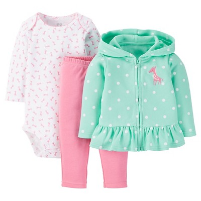 Just One You™ Made by Carter's® Baby Girls' Polka Dots 3pc Bodysuit Set - Green 3 M