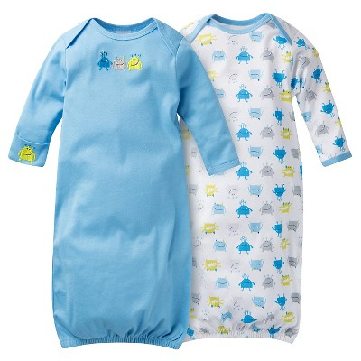 Gerber® Baby Boys' 2-Pack Monster Nightgown - Blue 0-6 M