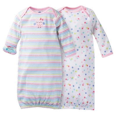 Gerber® Baby Girls' 2-Pack Stripe Nightgown - Pink 0-6 M