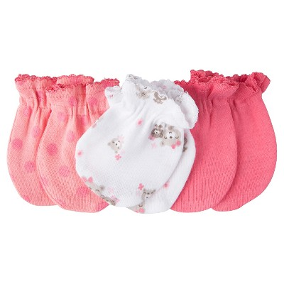 Gerber® Baby Girls' Bears 3-Pack Mittens - Red 0-3 M