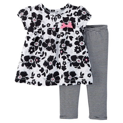 Just One You™ Made by Carter's® Baby Girls' Floral 2pc Pant Set - Black NB