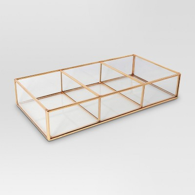 Glass & Metal 3 Compartment Vanity Tray - Threshold™