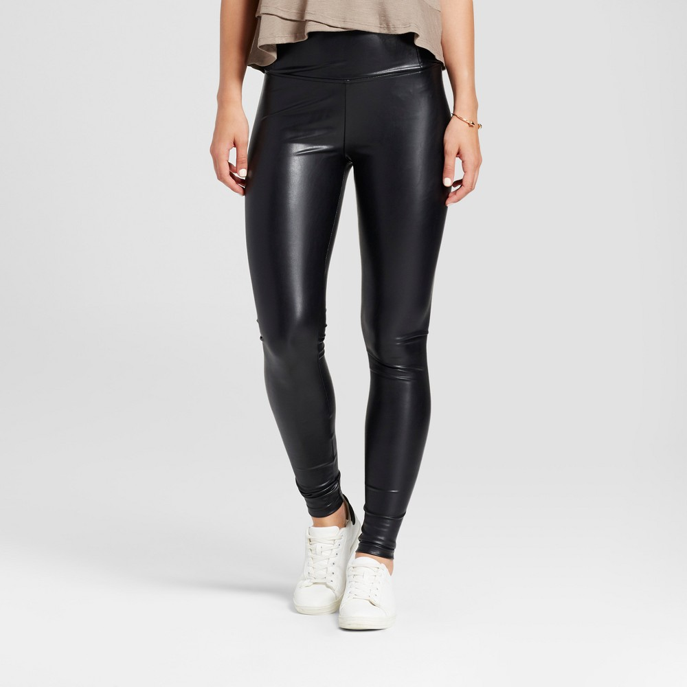 Womens High Waist Faux Leather Leggings - K by Kersh Black XS