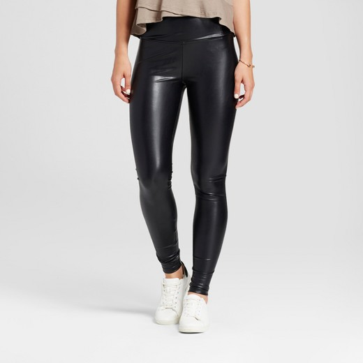Women's High Waist Faux Leather Leggings - K by Kersh Black : Target