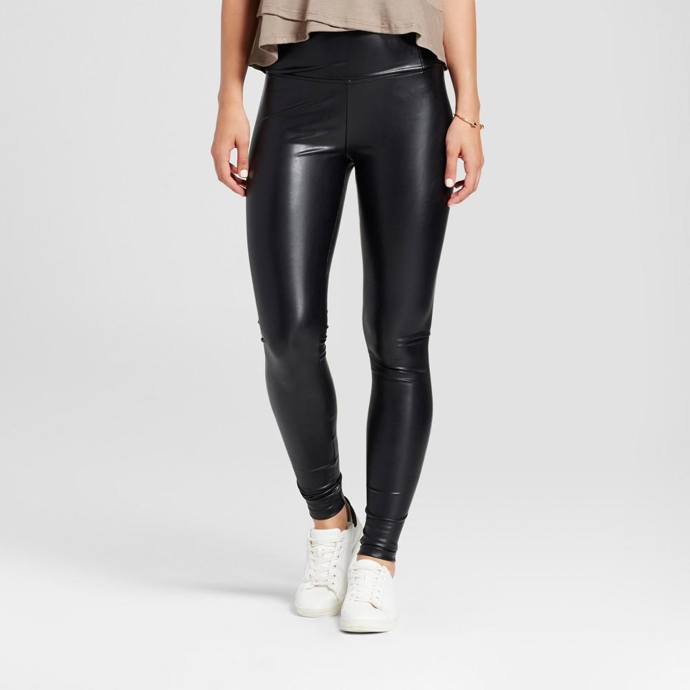 Womens High Waist Faux Leather Leggings - K by Kersh Black XL