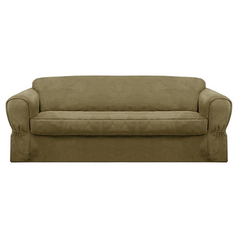 Piped Suede Loveseat Slipcover - Maytex - image 1 of 3