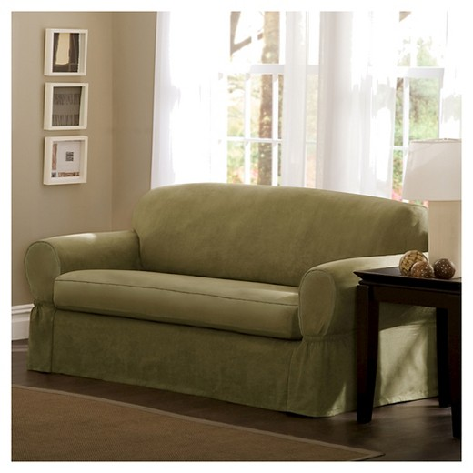 Piped Suede Sofa Slipcover
