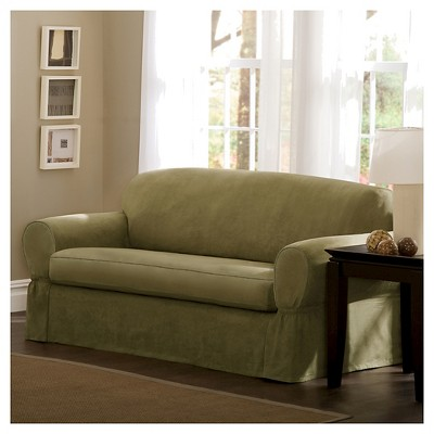 Piped Suede Sofa Slipcover   Maytex