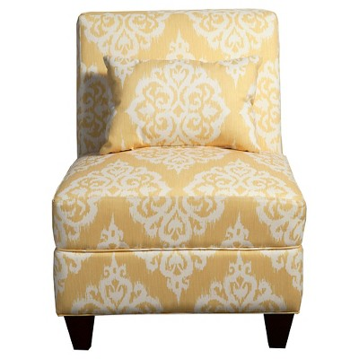 sunshine collection accent chair yellow cream damask homepop