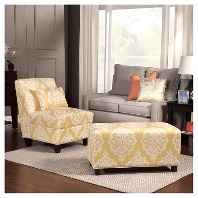 sunshine collection accent chair yellowcream damask homepop target