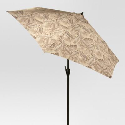 Nice 9u0027 Round Patio Umbrella Leaves Pattern   Threshold™