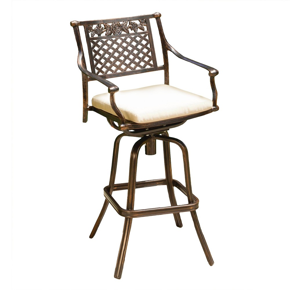 Sebastian Cast Aluminum Patio Barstool with Cushion – Copper – Christopher Knight Home