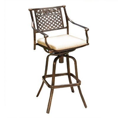 sebastian cast aluminum patio barstool with cushion copper christopher knight home