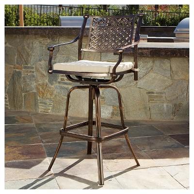 Sebastian Cast Aluminum Patio Barstool With Cushion   Copper   Christopher  Knight Home
