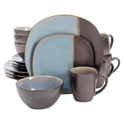 Gibson Soft Square Elite Volterra 16pc Dinnerware Set Blue