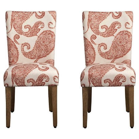 Parson Paisley Pattern Chair Wood/Rust/Cream (Set of 2) - HomePop