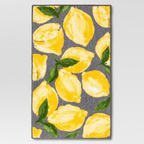Lemons Kitchen Rug Gray - Threshold™ : Target