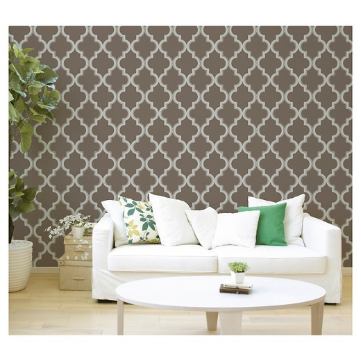 Devine Color Cable Stitch Peel Stick Wallpaper Buck Beluga - Green and brown wallpaper