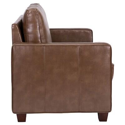 square arm bonded leather loveseat threshold
