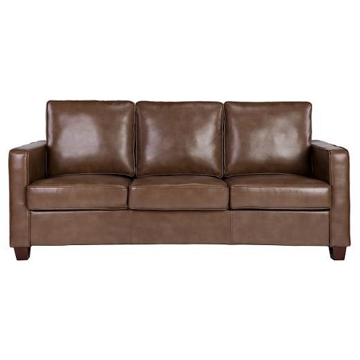 Square Arm Bonded Leather Sofa - Chocolate - Threshold™ : Target
