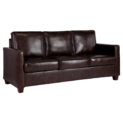 Square Arm Bonded Leather Sofa - Espresso - Threshold™