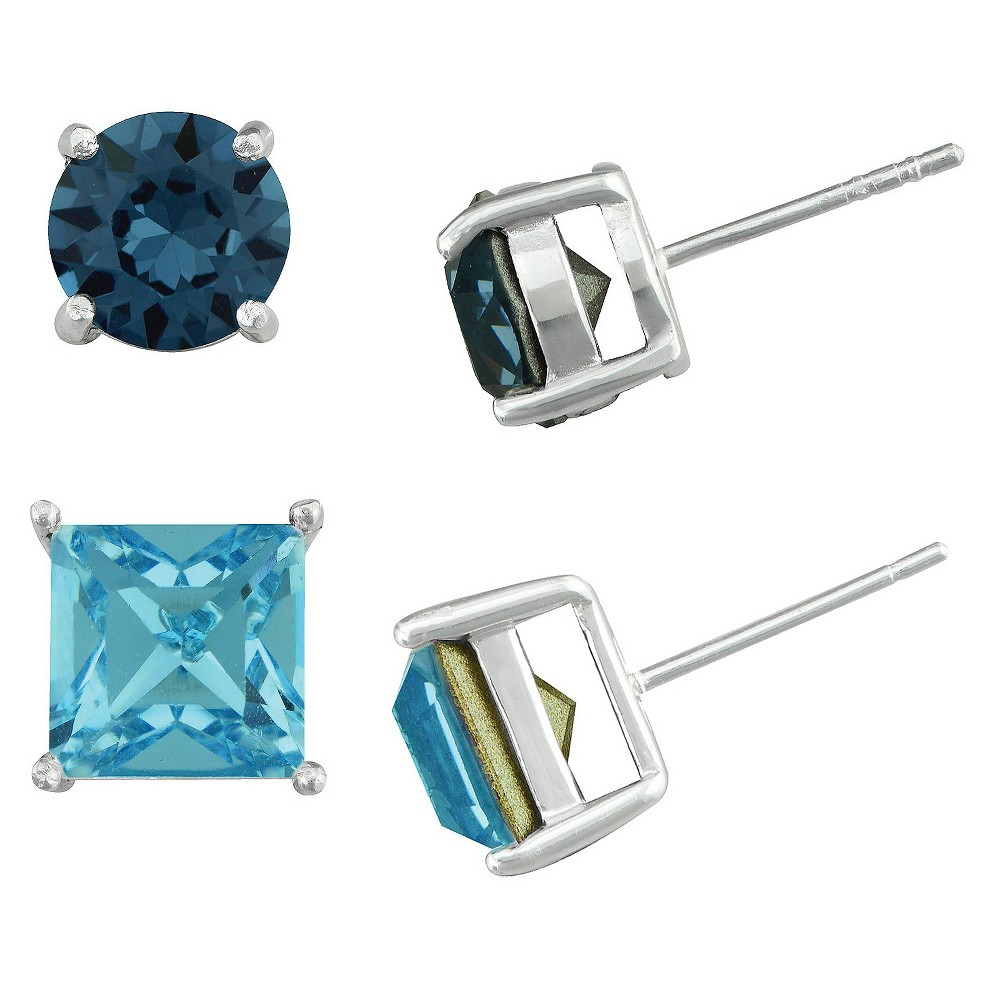 Womens Silver Plated Round and Square Crystal Stud Earrings - Blue (8mm)