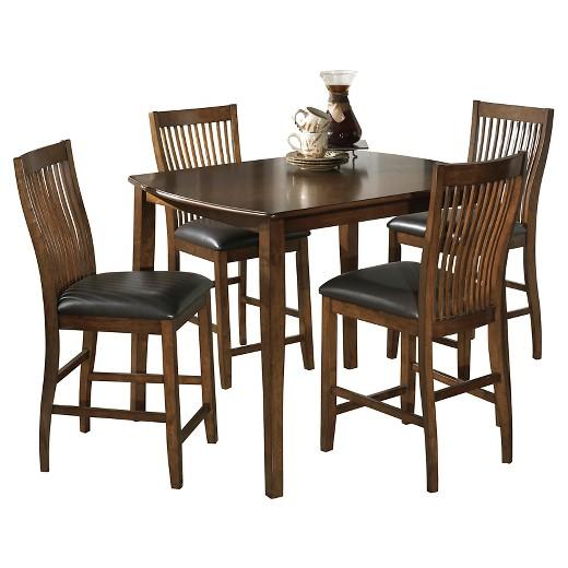 5 piece stuman rectangular dining room counter table set brown