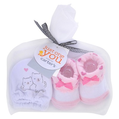 Just One You™ Made by Carter's® Baby Girls' Kitty Mittens/Bootie Set - White/Pink