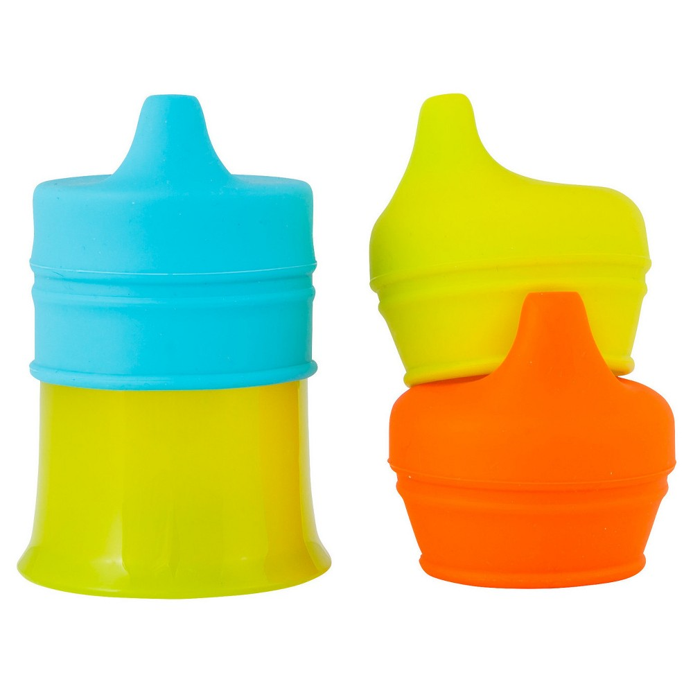 Boon Snug Spout Universal Silicone Sippy Lids and Cup, Multi-Colored