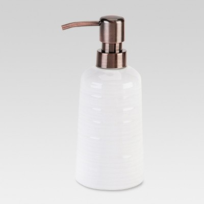 Ribbed Ceramic Soap Pump White - Threshold™
