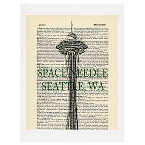 DENY Designs DarkIslandcity Space Needle On Dictionary Paper Art Print, Black