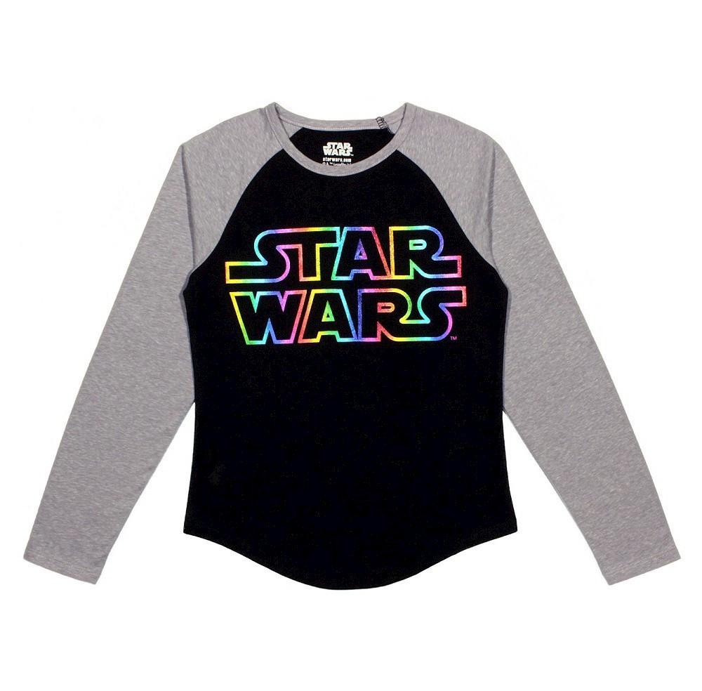 Plus Size Girls' Star Wars Raglan Long Sleeve T-Shirt Black - L Plus, Gray