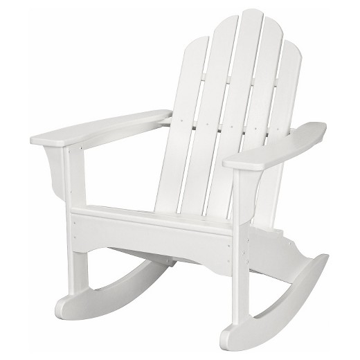 Outdoor Furniture All Weather Adirondack Rocking Chair in White Hanover T
