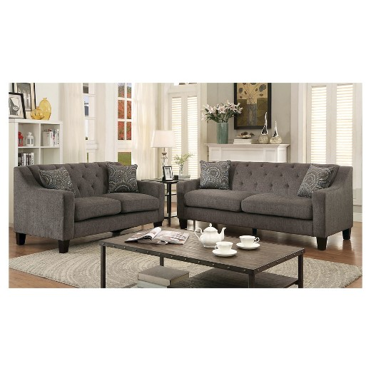 Mocha sofa signature design by ashley montgomery mocha sofa with flared thesofa for Montgomery mocha living room set