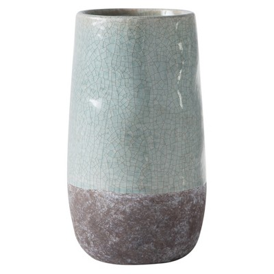 Corsica Ceramic Crackle Two Tone Round Pot - White/Gray - Torre & Tagus