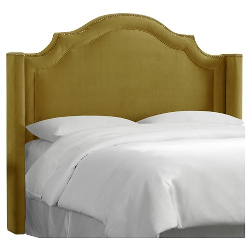 Nail Button Arched Wingback Headboard - Mystere Macaw - King - Skyline Furniture