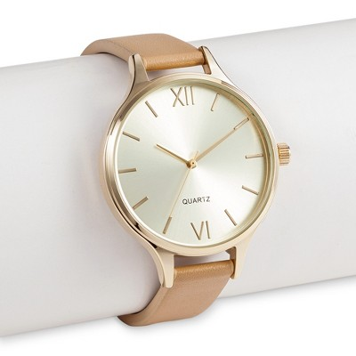 Women's WristWatch Faux Leather - Gold
