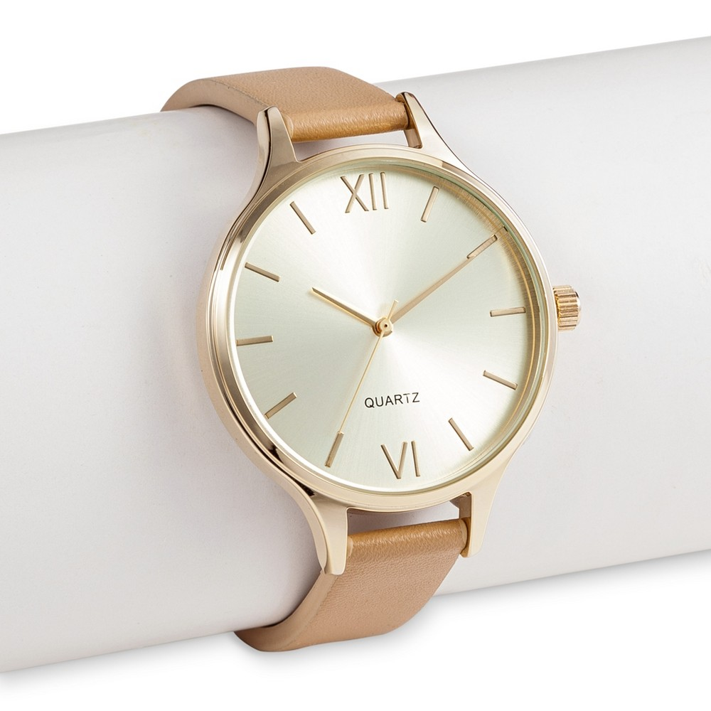 Womens WristWatch Faux Leather - Gold