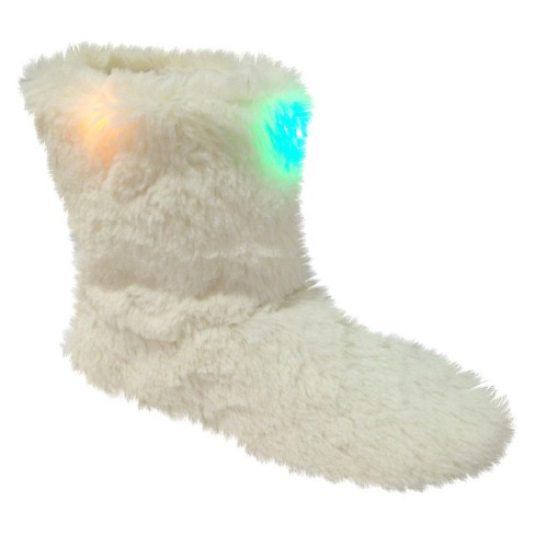 Girls' Holiday Faux Fur LED Light Bootie Slipper - White S/M (8-13) - image 1 of 1