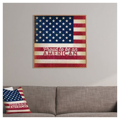 DENY Designs Anderson Design Group Proud To Be An American Flag Framed Wall Art, Blue Red