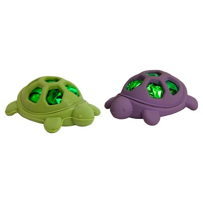 Rubber and Mylar Turtle Cat Pounce Toy Green & Purple (2 pk)- Boots & Barkley™