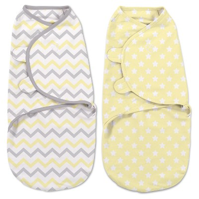SwaddleMe® Original Swaddle 2pk - Gray & Yellow Chevron/Stars (S, 0-3mo)