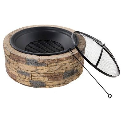 Sun Joe® Fire Bowl Wood Burning Round Buff Beige