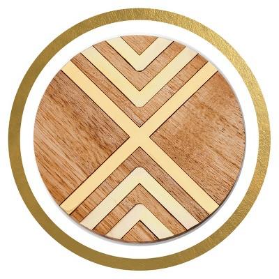 Threshold™ - Natural Acacia Coaster with Gold Metal Set of 4