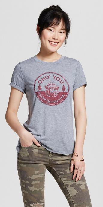 Women's Smokey Bear Graphic T-Shirt Gray (Juniors')